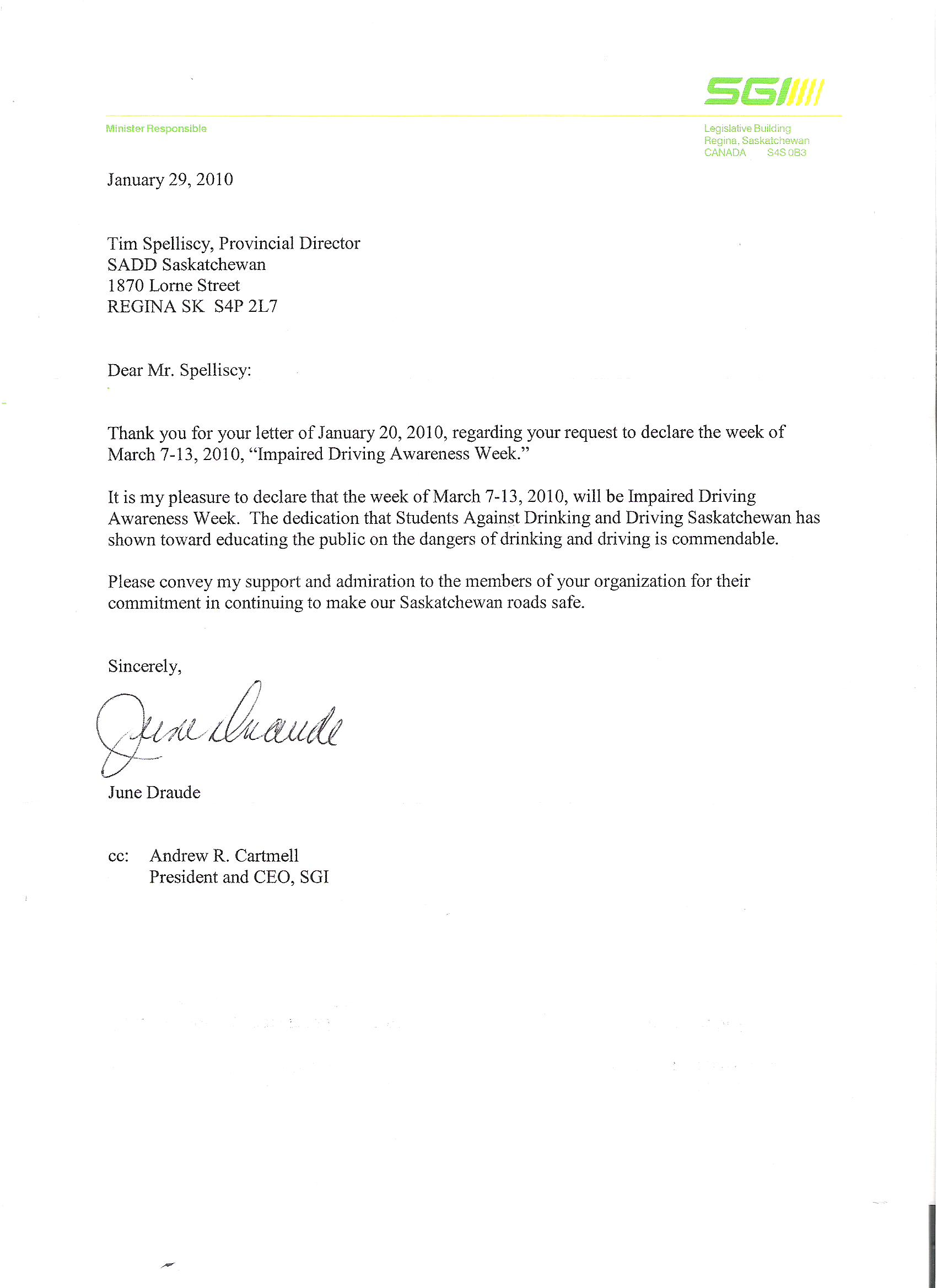 students against drinking driving saskatchewan inc declaration middot letter from hon draude